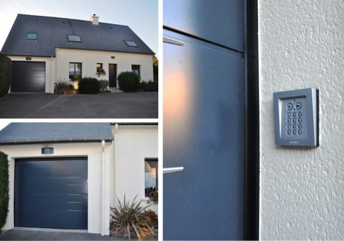 Installation digicode sur porte de garage sectionnelle.